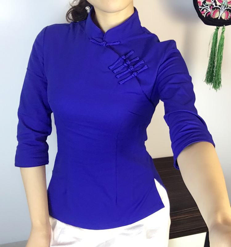 Spring and summer new style three-quarter sleeve cheongsam top, Chinese style stand-up collar, mid-sleeve improved disc button Tang suit