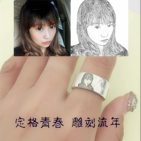 Private customized s999 Sterling Silver Photo ring couple ring DIY sketch portrait engraving ring