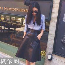 韩版休闲大兜 优质保不裂皮PU皮高腰A字款皮裙 中长半身裙女 包邮