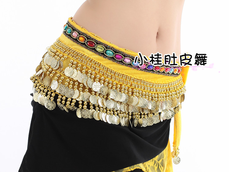 Special price new belly dance flannelette jewel practice waist belt Indian dance heavy performance Hip Scarf