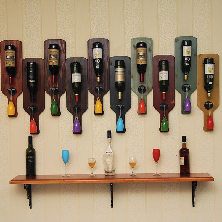 聚寶利實木 複古葡萄酒架懸掛壁掛擺件紅酒架吊杯架餐廳酒櫃