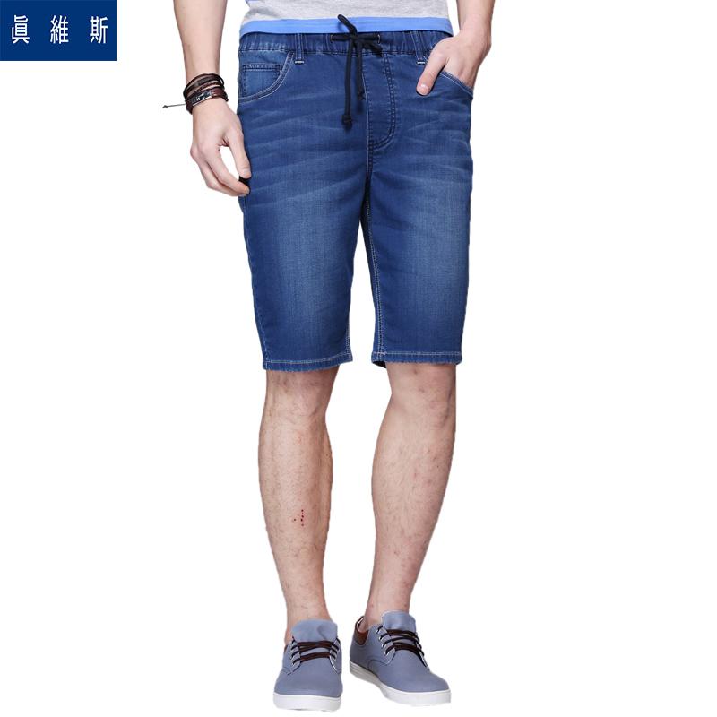 真維斯牛仔短褲男  2016夏裝 男士彈力修身薄款小腳牛仔褲