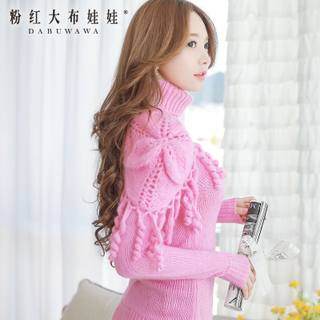 Sweater girls big pink dolls end of 2015 winter knit sweater shawl Turtleneck Long sweater