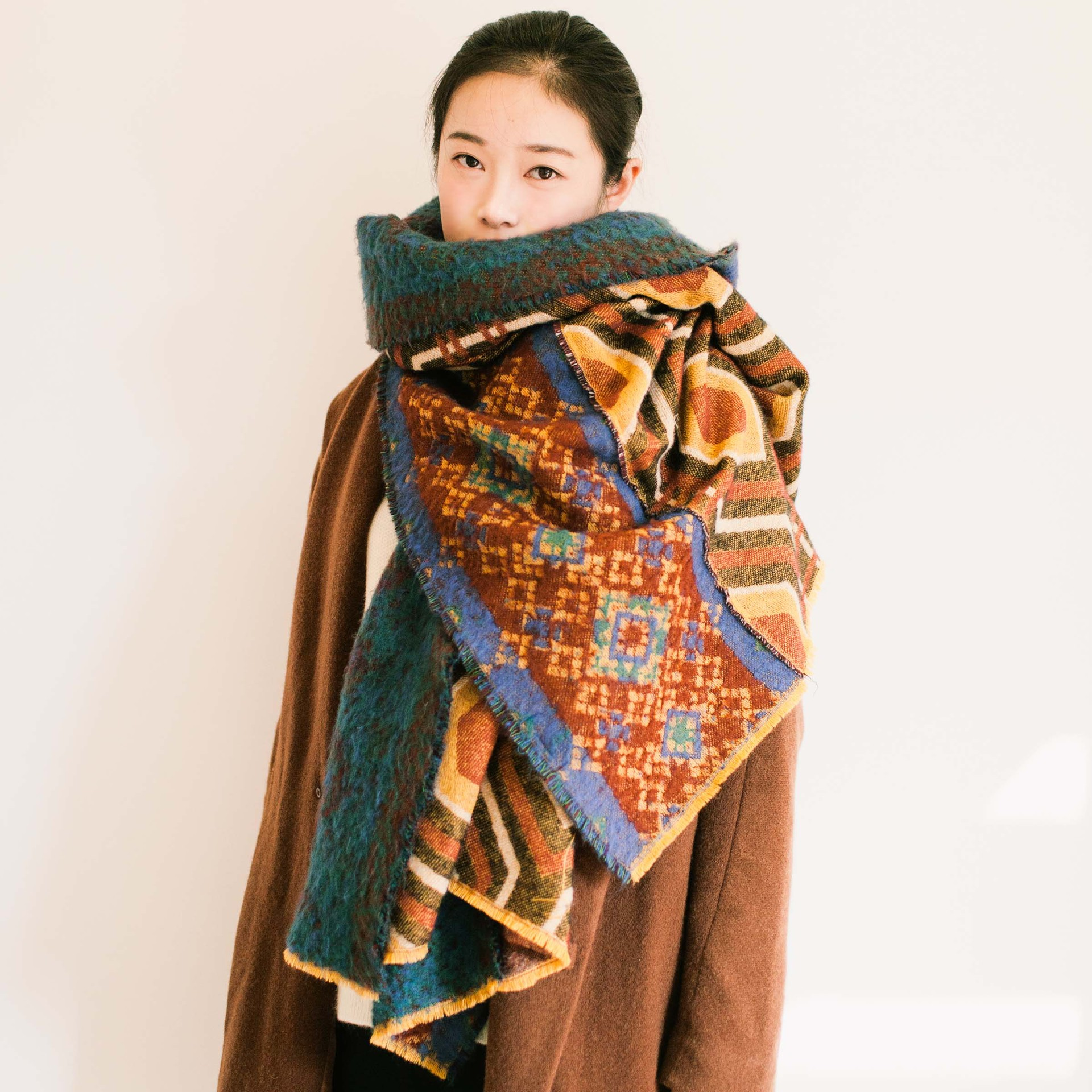 Womens autumn and winter ethnic style thickened extra large shawl warm scarf Tibet tourism long cloak and neck collar
