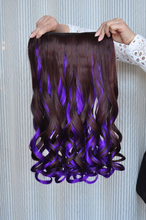 Double color wig piece Non-trace receiver colorful large wave upset a chip curly hair curly hair wigs