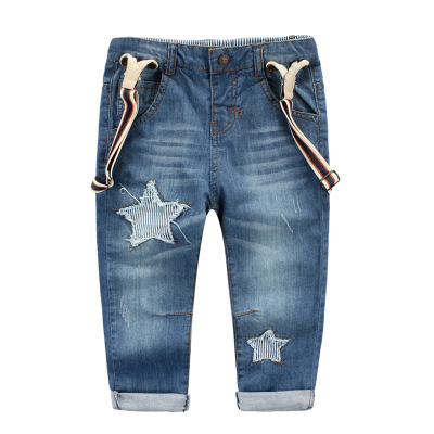 In the autumn of 2015 with the new boy little stars in the denim overalls children cotton pants spot value model