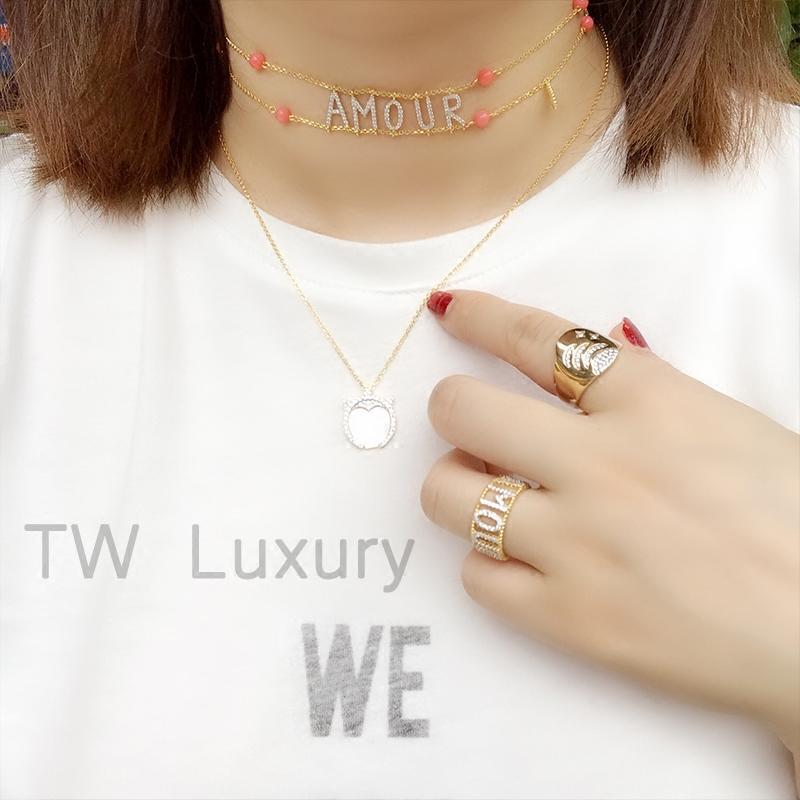 欧美新款 纯银镀金镶钻 复古潮流个性时尚Amour字母项链项圈