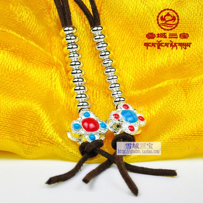 精品密宗藏式佛珠念珠配件牛皮绳白铜金刚十字杵计数器配饰挂件