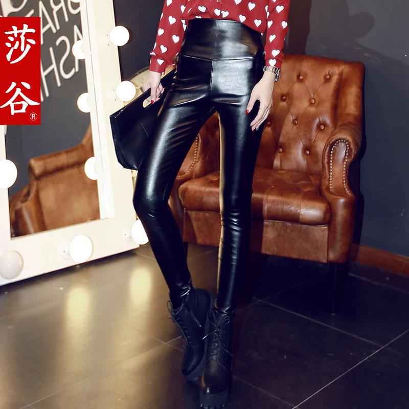 к 2015 году зимний сезон новый стиль высокой талией тощий PU кожаные брюки женщина с связанные ноги и утолщение шерсти носить вне брюки тонкие леггинсы