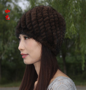 2014 new mink fur knit cap cap cap gift Cheap Mink female winter essential