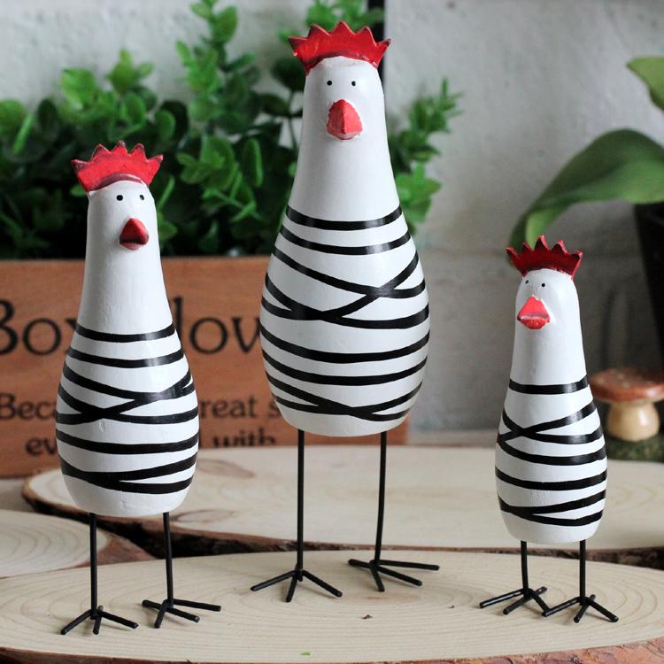 Zakka продуктовый северные древесины окрашены трехсекционный курица семьи ремесла ручной резные творческие украшения