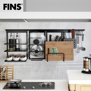 弗林斯太空铝厨房置物架厨卫五金用品挂件套装刀架挂杆调味料架黑