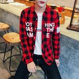 2016秋季时尚格子长袖衬衫卷后29元包邮
