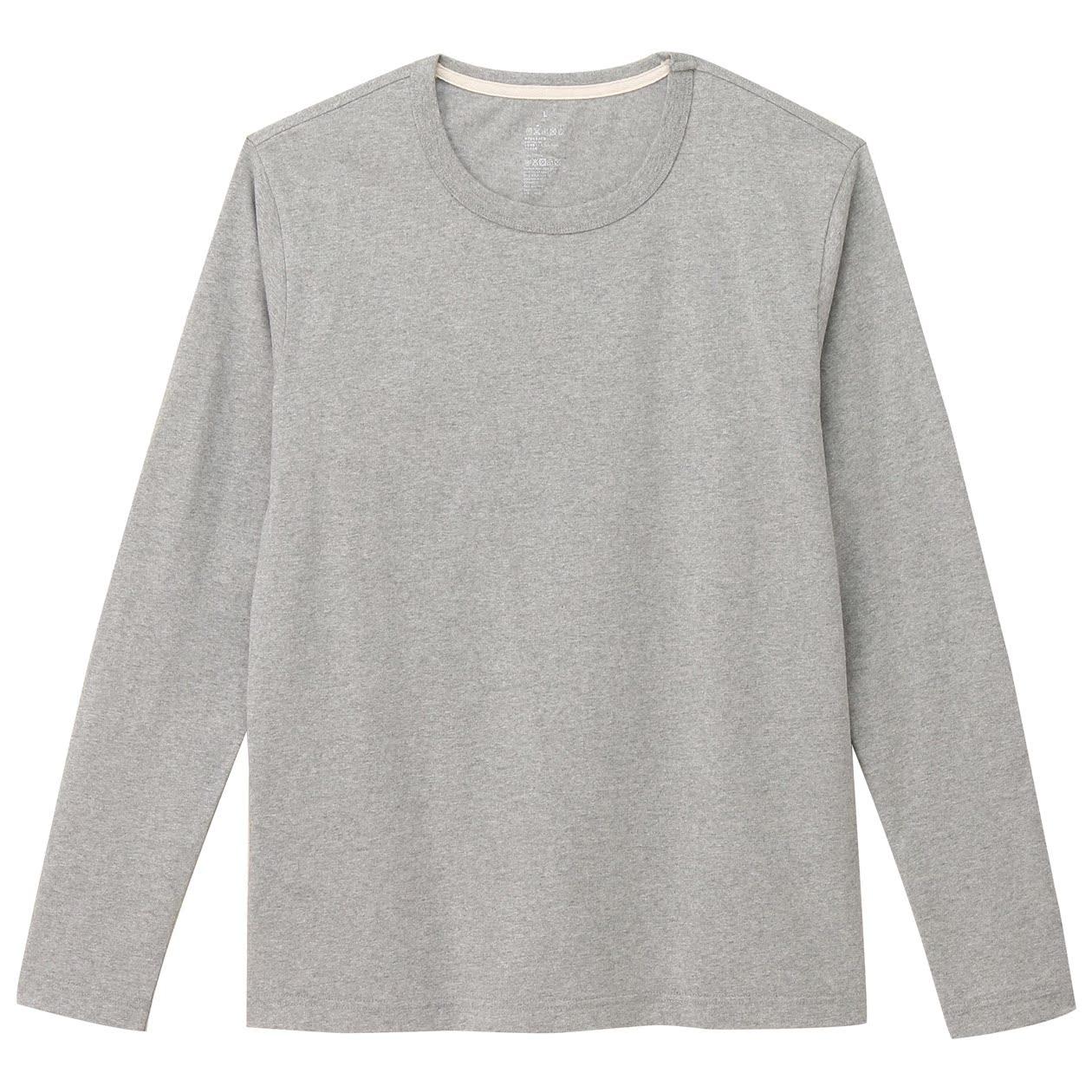無印良品 MUJI 男式 粗棉線圓領長袖T恤