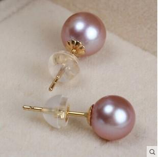 正圆强光天然淡水珍珠耳钉耳环正圆925银女款 送妈妈朋友