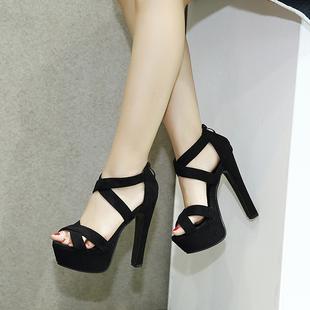 2017欧美款T台高跟女鞋14cm超高粗跟夏季凉鞋 模特走秀舞台演出鞋