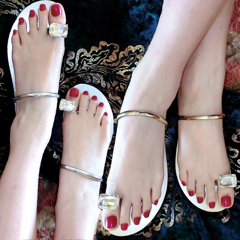 凉鞋女夏季水钻外穿平底夹趾jill大姐姐同款新款内增高沙滩凉拖鞋