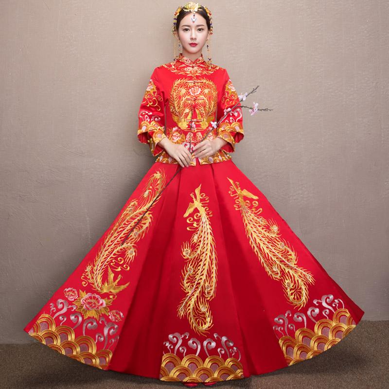 Красивый зерна одежда 2017 новый новый мать выйти замуж подвенечное платье платья дракон пальто древний устанавливается в стиль свадьба красивый кимоно уважение ликер одежда