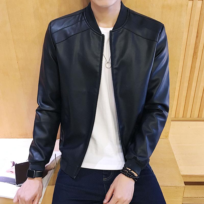 男士青年立領薄款皮夾克