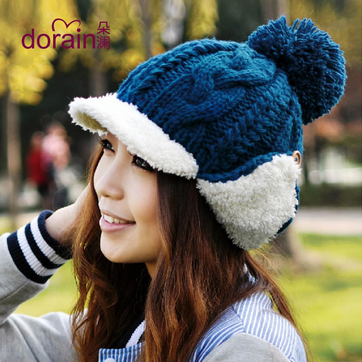 Осень и зима шляпу дамы Cap-Корейская версия пропускает большие шары вязание шерсти шляпу шлем зимы милые maozi