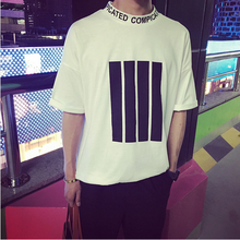 The new 2015 summer, Japan and South Korea GD GD with fashionable stripe printed 7 minutes of leisure men's T-shirt with short sleeves