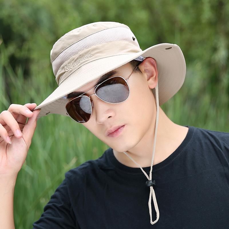 詩瑪邇 漁夫帽男士夏天戶外遮陽帽太陽帽透氣防曬釣魚帽子登山帽