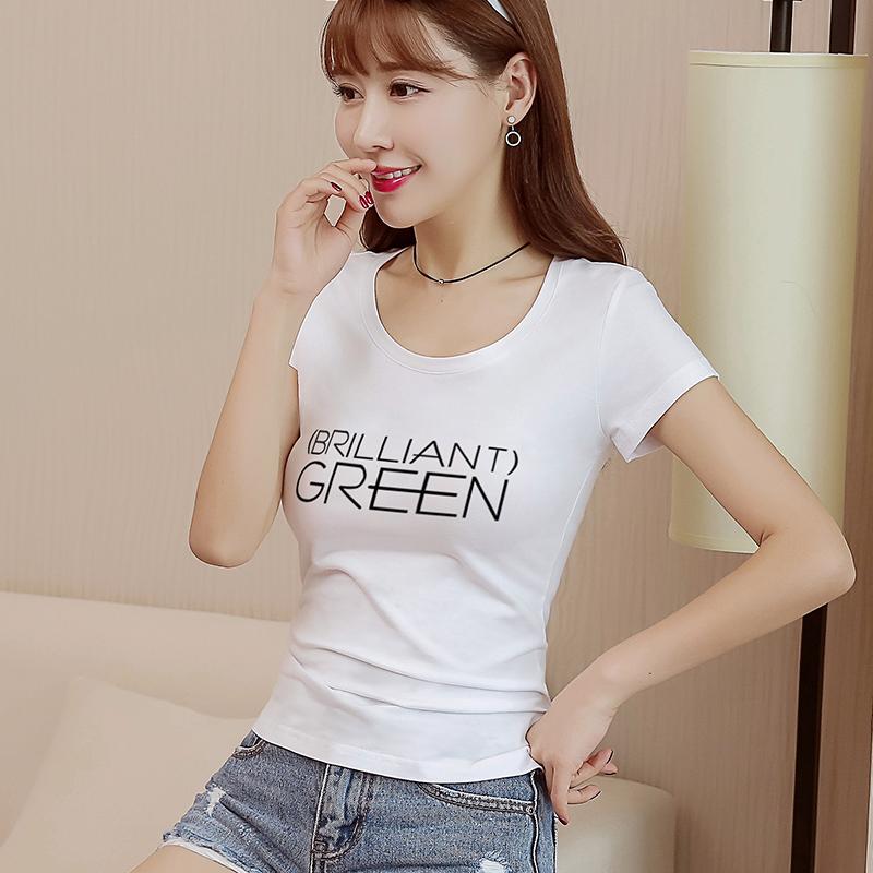 Evening round neck white T-shirt short sleeve letter print slim fitting Korean cotton womens 2018 new summer top