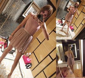 实拍 挂脖珍珠背心+闪片藕粉显白百褶高腰短裙两件套套装 86...