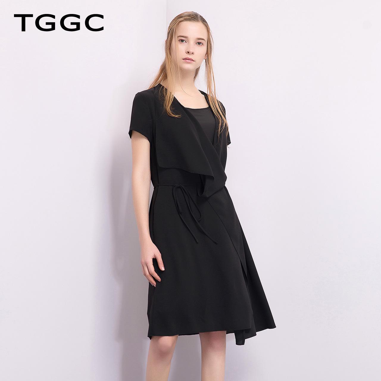 TGGC 2018年夏装 宽松不规则下摆显瘦气质女短袖连衣裙 F20613