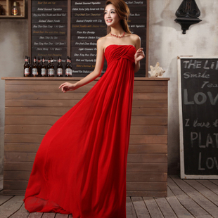 Ms evening dress 2015 new long section of the waist strap dress pregnant bride wedding dress red toast clothing