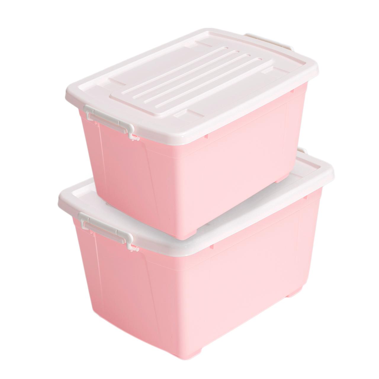 禧天龍58L 38L兩件裝樹脂衣物收納箱加厚玩具儲物箱滑輪
