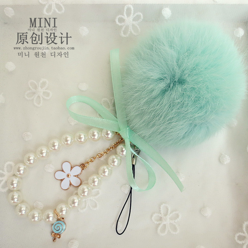 夏季新品可爱创意毛绒手机挂件饰品韩国手机挂饰兔毛球挂链吊坠