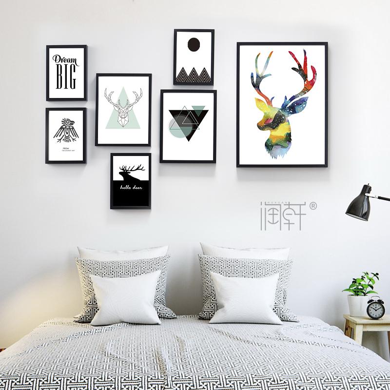簡約北歐宜家小清新客廳裝飾畫麋鹿牆畫照片牆背景牆餐廳掛畫