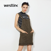 Westlink/West spring 2016 new army green tassel was thin and detachable Siamese Korean overalls
