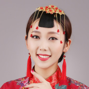 Good beauty Yao bridal tiaras, jewelry star Chinese Red wedding hair accessories set amounts show Wo suit dress in period costume accessories