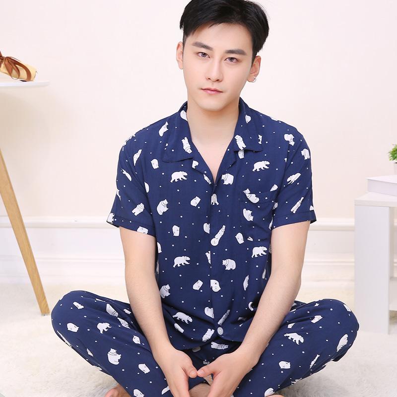 睡衣男士夏季棉绸两件套装短袖绵绸宽松家居服薄款韩版大码中老年