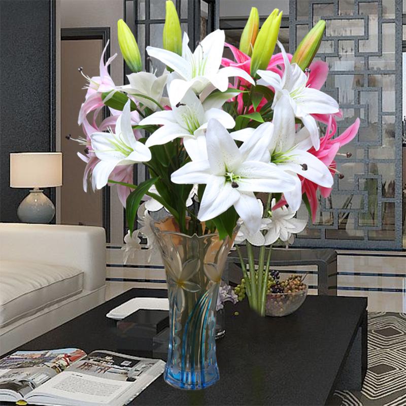 pu百合花仿真花束單支插花室內假花客廳裝飾花絹花擺設塑料花花藝