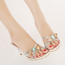 Europe and the United States sexy high-heeled shoes women 2015 summer new buckles diamond thin font with fish mouth cool slippers slippers