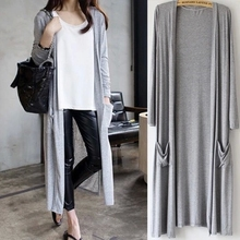 In Europe and the United States wind pure color modal summer bask in clothes long thin women's knit cardigan outside during the spring and autumn coat