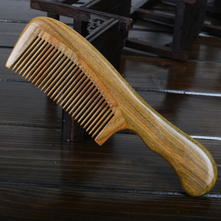 Comb genuine natural green lettering sandalwood comb anti static anti hair massage jade sandalwood comb