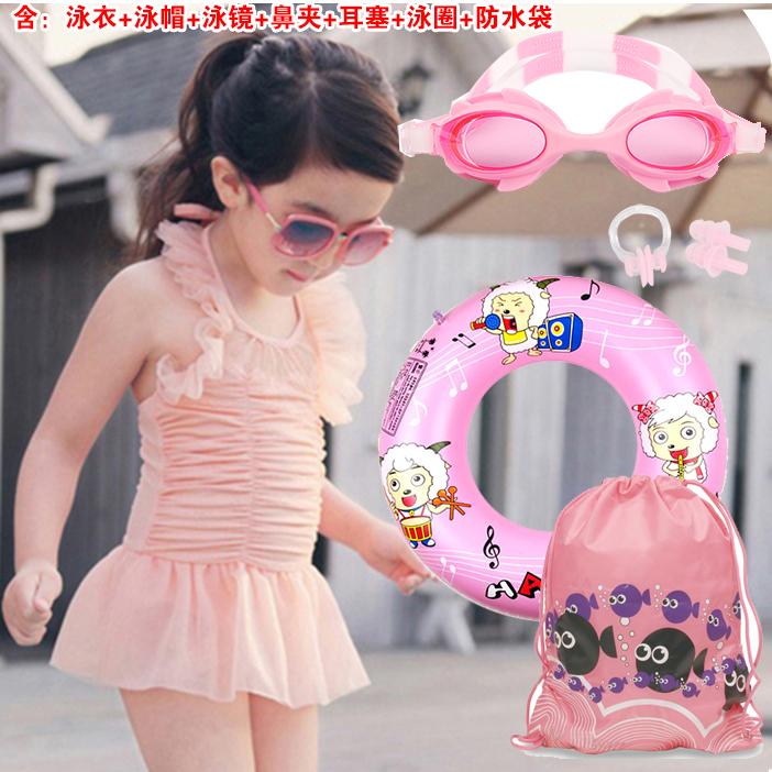 兒童泳衣女孩連體公主裙可愛女寶寶中大童女童小童韓國遊泳衣套裝
