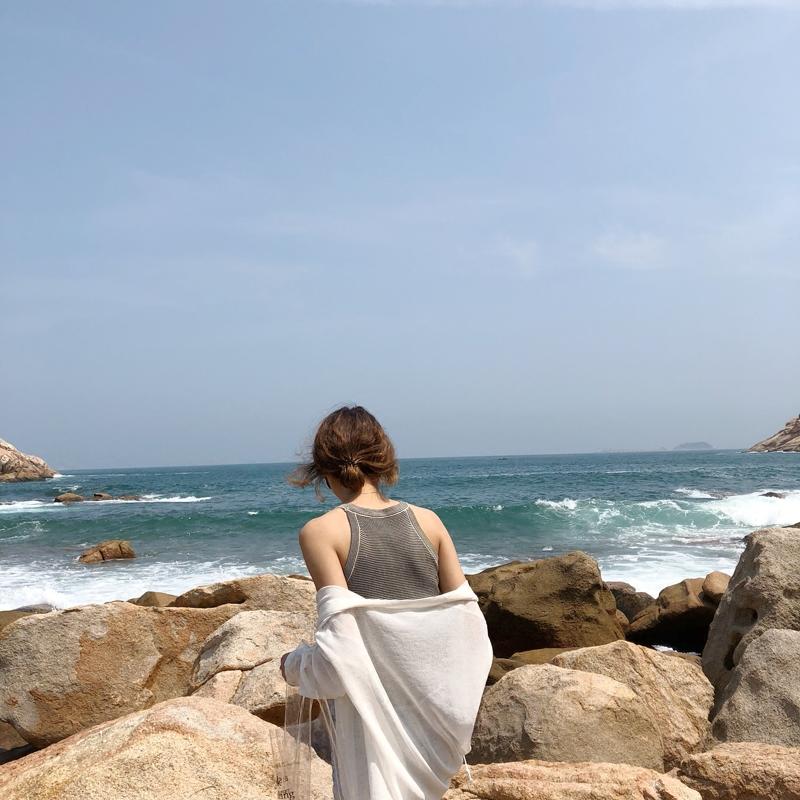 韩版女装夏季工字针织小背心修身短款圆领无袖学生打底衫上衣百搭