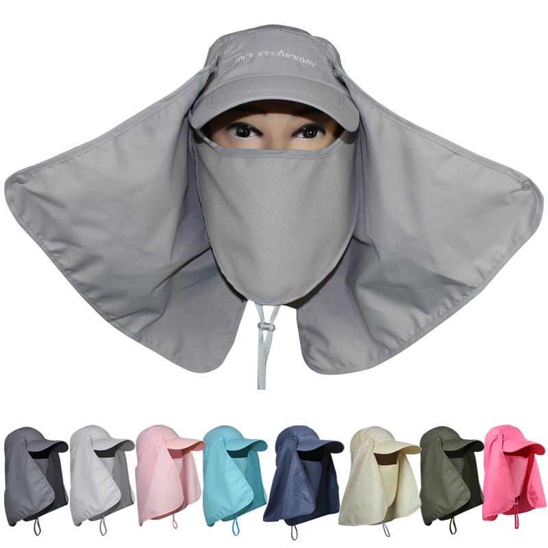 夏の紫外線対策帽子屋外の大部分は顔の日焼け止め帽子のビーチ帽子の男性の女性のカバンに沿って郵送します。