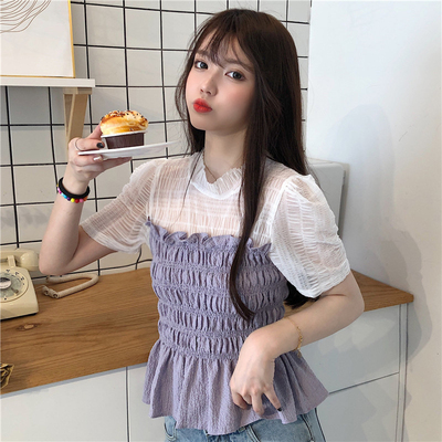 Purple waistband splicing top summer 2020 new Korean mesh short sleeve shirt womens design sense shirt trend