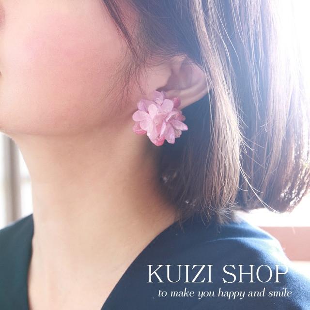 配珍珠耳堵日本进口绣球永生花簇纯银耳钉花之调色盘葵子手作