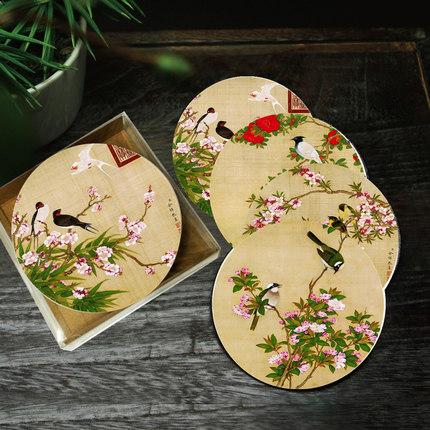 上新了看故宫博物馆收藏工笔软木杯垫中国风创意文化纪念品