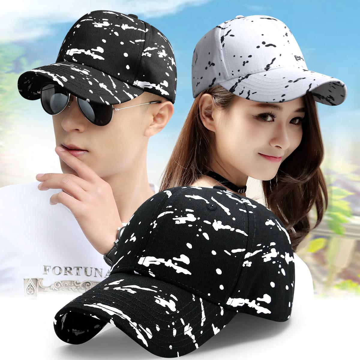 帽子男韩版鸭舌帽男士出游帽子夏季时尚潮涂鸦棒球帽女防晒遮阳帽