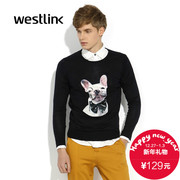 2015 new European fashion casual trend in the West dog print slim thin long-sleeve turtleneck men's sweater