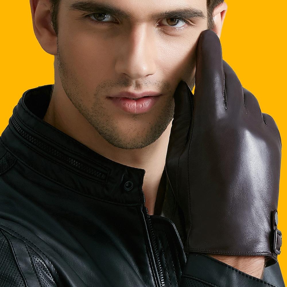 真皮手套男士冬季触屏羊皮手套防寒保暖加绒加厚骑车开车短款薄款