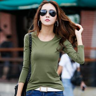 韩版圆领修身纯色长袖t恤打底衫
